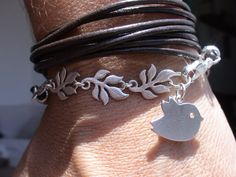 women leather bracelet multi wrap leaf chain connector with bird charm ~ kekugi @ etsy