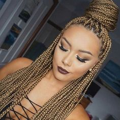 60 Totally Chic And Colorful Box Braids Hairstyles To Wear! - 60 Totally Chic And Colorful Box Braids Hairstyles To Wear! – Part 68 The Effective Pictures We O - Short Box Braids, Blonde Box Braids, Black Girl Braids, Braids For Black Women, Bob Braids, Black Box Braids, Jumbo Braids, Honey Blond, Curly Hair Styles