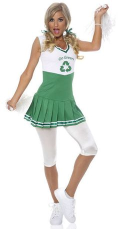 Go Green Cheerleader Adult Costume Description: You've got brains and a body! This hot cheerleader is also an environmentalist. Costume features dress with green and Cute Couples Costumes, Sexy Adult Costumes, Cheerleader Halloween Costume, Halloween Costumes, Costume Shop, Costume Dress, Girly Outfits, Fashion Outfits, Green Pleated Skirt