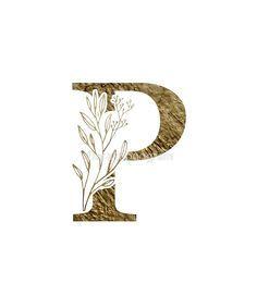P Letter Design, Alphabet Letters Design, Hand Lettering Alphabet, Letter Art, Floral Font, Motif Floral, Wreath Watercolor, Green Watercolor, Zentangle
