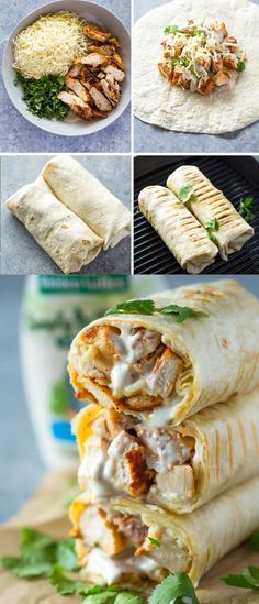 Healthy grilled chicken and ranch wraps tortilla grill, healthy tortilla wraps, chicken tortilla wraps Healthy Chicken Recipes, Mexican Food Recipes, Cooking Recipes, Healthy Chicken Wraps, Chicken Avocado Wrap, Healthy Wraps, Salmon Recipes, Healthy Foods, Chicken Wrap Recipes