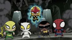 Marvel's Ultimate Spider-Man: Spider-Man, Power Man, White Tiger, Nova & Iron Fist-when they got turned into little kids by Loki(adorable)