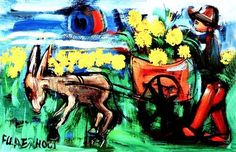 Frans Claerhout (SA ) print on the canvas African Paintings, Work Images, South African Artists, Canvas Paper, Love Art, Art History, Artsy, Canvas Prints, Donkey