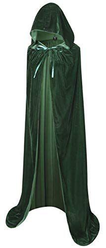 d7f2b13379501 BIGXIAN Full Length Hooded Velvet Cloak Halloween Christmas Fancy Cape  Costumes 59