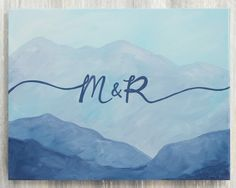 Mountain Wedding Guest Book Alternative / Unique Guest Book Idea / Hand Painted Guestbook Canvas / P Wedding Canvas, Wedding Frames, Wedding Art, Wedding Favors, Wedding Decorations, Wedding Ideas, Bible Verse Canvas, Personalized Wedding Guest Book, Wedding Painting