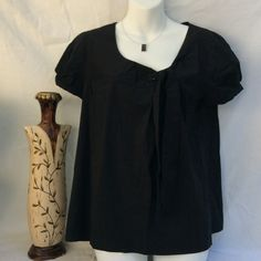 Loft Top🔴 Black short sleeve with tie in the front. Armpit to armpit is 20 in. LOFT Tops Blouses