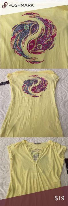 LVR EMBELLISHED T-Shirt Beautiful yellow t shirt with bright colored Embellished design on back.  New with tags.  Pet free smoke free home. LVR Tops Tees - Short Sleeve