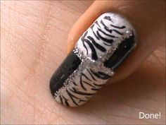 Checkered Zebra Stripes! Easy nail designs for beginners- nail art for short nails tutorial at home