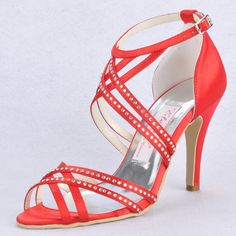 """Dyeable Fabulous Caged Style 3.5"""" Rhinestones Peep-toe Strap Sandals - Ivory Party shoes (11 colors)"""