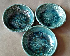 THREE Ceramic Prep nesting Bowls malachite green by dgordon