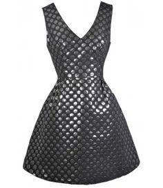 $54 Black and Silver Polka Dot Dress, Cute New Years Eve Dress, Polka Dot A-Line Party Dress, Cute Party Dress