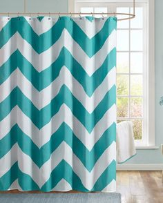 Our Chevron Aqua Shower Curtain Makes Any Bathroom Fun And Inviting. A Gray  And White