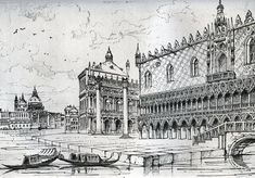"""""""The Quarry,"""" Chapter I, The Stones of Venice Ruskin's 1835 drawing of the Ducal palace of Venice — made when he was 16 years old.  The Ducal palace of Venice contains the three elements in exactly equal proportions — the Roman, Lombard, and Arab. It is the central building of the world. .. the field of contest between the three pre-eminent architectures of the world: — each architecture expressing a condition of religion; ..."""