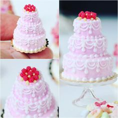Three-tiered raspberry pink cake with hand-piped decoration. Part of our brand new Pink Collection of miniatures at www.parisminiatures.etsy.com