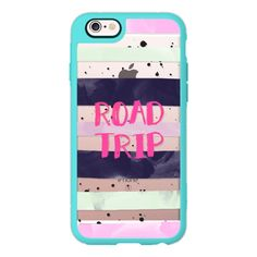Modern road trip typography pink purple green watercolor stripes... ($40) ❤ liked on Polyvore featuring accessories, tech accessories, phone cases, iphone case, phone, iphone cover case, purple iphone case, iphone hard case, pink iphone case and apple iphone cases