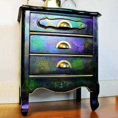 Mark Montano: Iridescent Dresser Makeover with Unicorn SPiT Sparkling Dresser Makeovers Dresser Iridescent Makeover Mark Montano Sparkling SPiT Unicorn Funky Painted Furniture, Chalk Paint Furniture, Refurbished Furniture, Upcycled Furniture, Furniture Makeover, Cool Furniture, Furniture Design, Painted Dressers, Dresser Makeovers