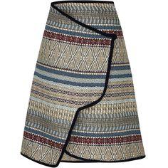 Tribal Print Wrap Skirt | Moda Operandi (189.300.420 VND) ❤ liked on Polyvore featuring skirts, high-waisted skirt, high rise skirt, high-waist skirt, wrap skirts and tribal print skirts