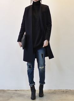 black turtleneck +cuffed denim + booties + black jacket