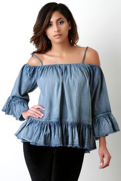 This stylish top features denim fabric, cold shoulder design, raw trimmed, and ruffle sleeves and hemline. Accessories sold separately. 100% Cotton.