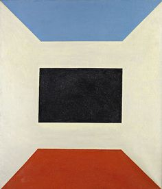 I see this as a room with a blue ceiling and a burnt orange floor - Charles Green Shaw ( rug inspiration )
