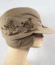 Vintage 1940s 40s Khaki Embroidered Ski Skiiing Cap NOS Sz 6 7/8