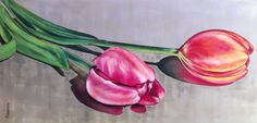 Tulip painting. Acrylic on canvas by Molawrenson