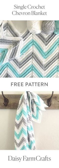 FREE PATTERN Single Crochet Chevron Blanket by Daisy Farm Crafts