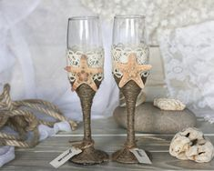 Hey, I found this really awesome Etsy listing at https://www.etsy.com/listing/151677923/beach-wedding-glasses-with-rope-lace-and