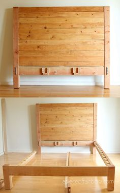 How to build beautiful $100 easy DIY bed frame & wood headboard with natural finishes & $1500 look! Best tips & free plan for king, queen & full bedframes! - A Piece of Rainbow #diybeds #diybed #bedroom #bed #diy #furniture #woodworkingprojects woodworking plans, #apieceofrainbow #diy #homedecor #hacks bedroom ideas, #farmhouse farmhouse decor, west elm, pottery barn, anthropologie Diy Bed Frame Plans, Diy King Bed Frame, Bed Frame And Headboard, Wood Headboard, Diy Frame, Fabric Headboards, Upholstered Headboards, Farmhouse Bedroom Decor, Farmhouse Furniture