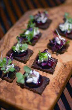 Goat's cheese + baby beet canape with balsamic glaze + micro herbs