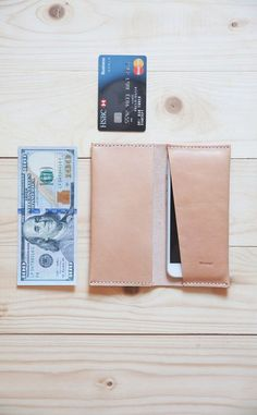 iPhone 6, 6 Plus Leather Wallet / Personalized iPhone Holder / iPhone 5, 4 Leather Case / Sleeve / Cover / Hand Stitched / Natural Color