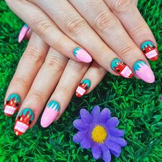 This Japanese-inspired nail art is the cutest! Kawaii Nail Art, Bright Nails, Cute Nails, Acrylic Nails, Japanese, Inspired, Pink, Inspiration, Beauty