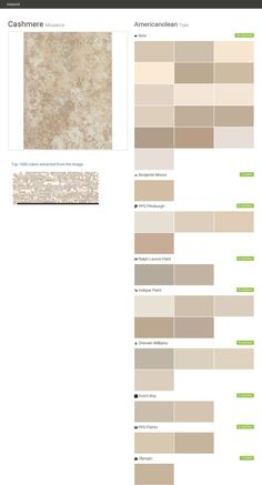 Cashmere. Mosaics. Type. Americanolean. Behr. Benjamin Moore. PPG Pittsburgh. Ralph Lauren Paint. Valspar Paint. Sherwin Williams. Dutch Boy. PPG Paints. Olympic.  Click the gray Visit button to see the matching paint names.