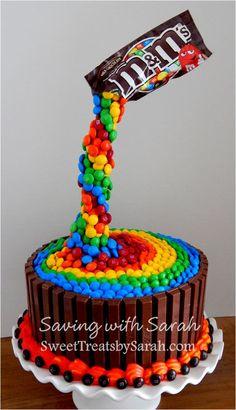 Rainbow Birthday Cake  M&M's Kit Kat Cake anti-gravity cake