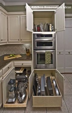 There is no question that designing a new kitchen layout for a large kitchen is much easier than for a small kitchen. A large kitchen provides a designer with adequate space to incorporate many convenient kitchen accessories such as wall ovens, raised. Kitchen Appliance Storage, Diy Kitchen Storage, Home Decor Kitchen, Kitchen Furniture, New Kitchen, Kitchen Ideas, Storage Cabinets, Kitchen Inspiration, Wood Furniture