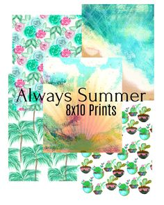Always Summer Printable Paper by XoNetra on Etsy Cotton Candy Sky, California Vacation, Printable Paper, All Print, Planners, Journals, Origami, How To Draw Hands, Stationery