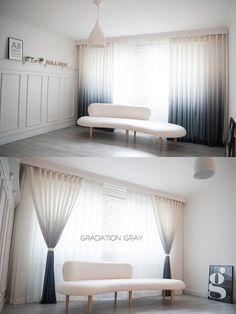 chic & modern styling white & gray gradation at home living curtain. designed by paradigm