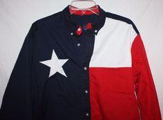 Carlo Costa & Company Texas Flag Star Shirt Large long Sleeve #CarloCosta #Western