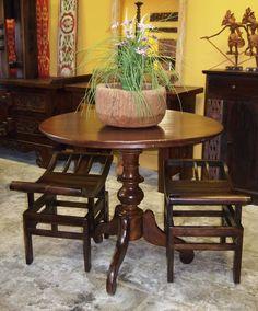Dutch Colonial Teak pedestal Table and Asian Style teak benches from Gado Gado.