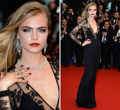Cara Delevingne Stuns in a Custom Black Lace Burberry Prorsum Gown at the premiere of Great Gatsby, opening night of the Cannes Film Festival Gatsby, Cannes Film Festival 2014, Cara Delevingne Style, Lace Dress, Dress Up, Burberry Dress, Floor Length Gown, Bridal Lehenga, Wearing Black