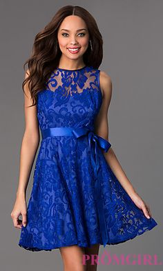 Romantic floral lace combines with a modest ladylike design to give this  short sleeveless dress an b5224e51a