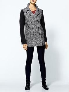 Tibi Bonded Tweed Double Breasted Pea Coat | Piperlime
