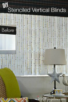 I love the functionality of vertical blinds but not the dated look of verticals. How to stencil vertical blinds fixes that issue! You'll LOVE the new look! #stenciling #windowtreatments www.H2OBungalow.com