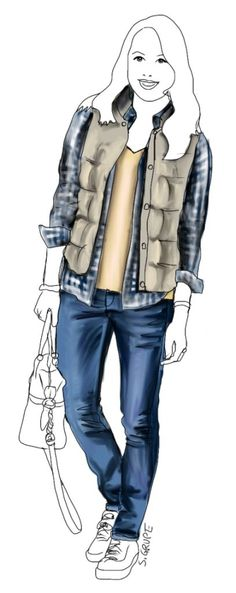 T-Shirt, Karohemd und Weste zur Skinny Jeans - fertig ist ein lässiger und dennoch interessanter Lagen-Look.
