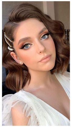 Wedding Eye Makeup, Bridal Makeup Looks, Bridal Hair And Makeup, Hair Makeup, Simple Bridal Makeup, Day Makeup Looks, Makeup Hairstyle, Vintage Bridal Makeup, Eyeshadow Makeup