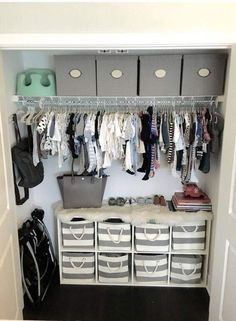 2019 Can you believe this kid's wardrobe? The post Nursery Closet Organization. 2019 appeared first on Nursery Diy. Baby Bedroom, Baby Boy Rooms, Baby Boy Nurseries, Baby Room Closet, Baby Closets, Baby Room Ideas For Boys, Ikea Closet, Baby Boy Nursey, Boys Closet