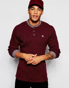 Image 1 of Abercrombie & Fitch Long Sleeved Nep Henley Waffle T-Shirt Waffle Knit, Abercrombie Fitch, Asos, Men Sweater, Slim, Scotch, Long Sleeve, Fitness, Sleeves