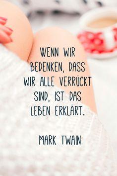Wenn wir bedenken, dass wir alle verrückt sind, ist das Leben erklärt. *Mark Twain