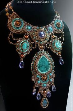 Handmade bead embroidered necklace with turquoise. Bead Embroidery Jewelry, Soutache Jewelry, Beaded Embroidery, Beaded Jewelry, Handmade Jewelry, Beaded Necklace, Necklaces, Jewelry Art, Jewelry Design