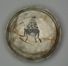 Bowl with burden-bearing human(c.1000-1150). Southwest, Mogollon, Mimbres, Pre-Contact Period, 11th-12th century, earthenware.